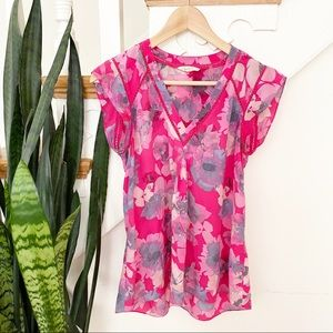 Rebecca Taylor pink watercolor floral pattern top